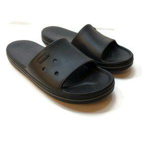 Crocs Mens Solid Black Slip On Rubber Slides